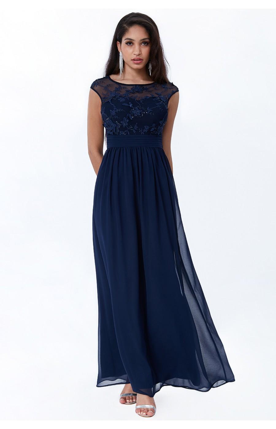 Μακρύ σιφόν μπλε σκούρο φόρεμα με απλικέ λουλούδια