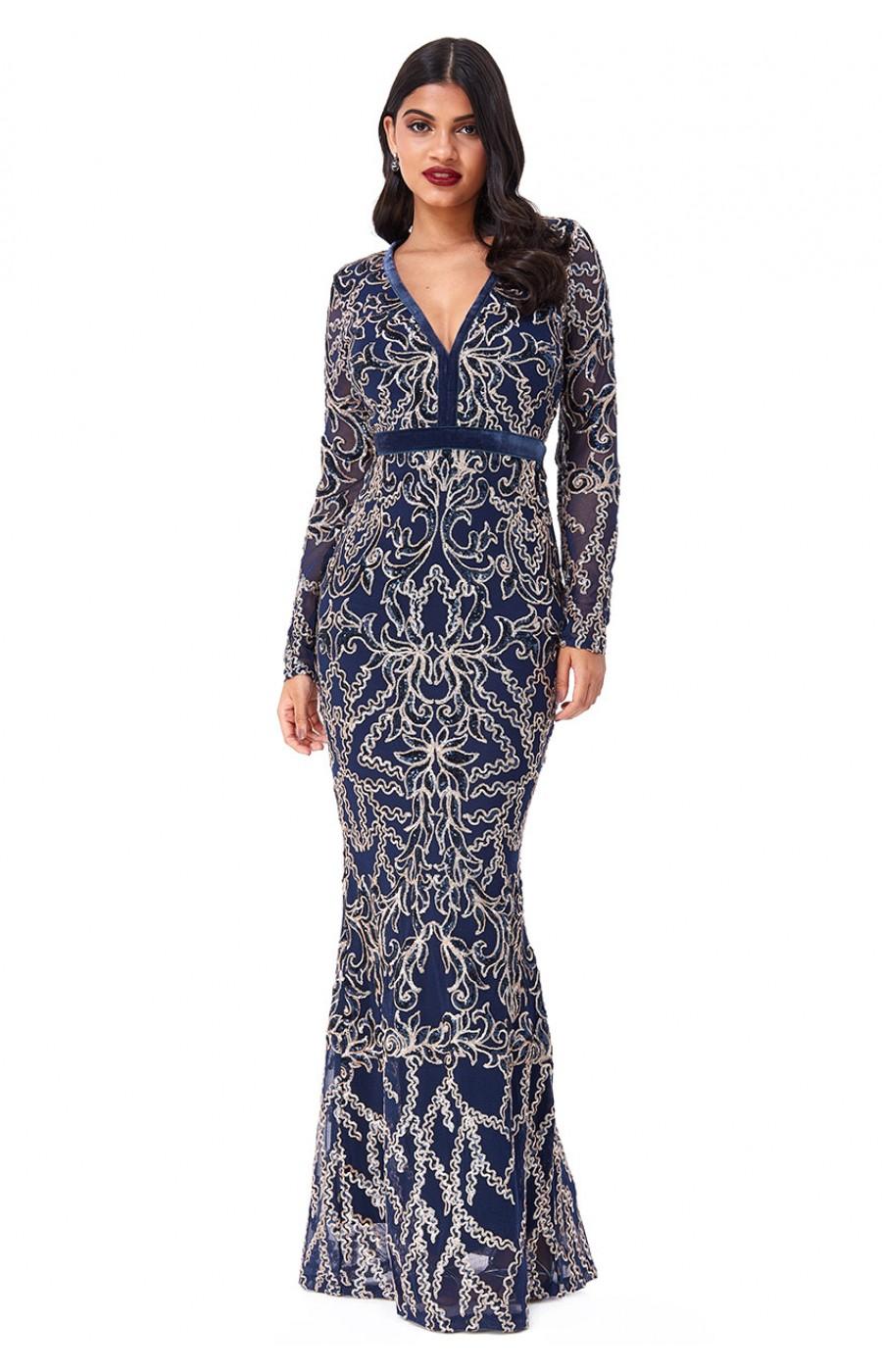 Επίσημο μακρύ κεντημένο φόρεμα