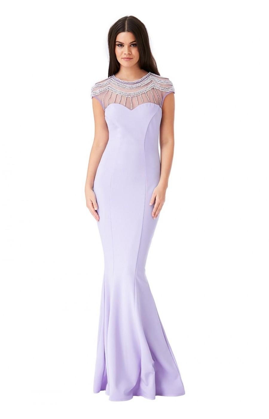 Μακρύ φόρεμα με κέντημα στο επάνω μέρος στο χρώμα της λεβάντας