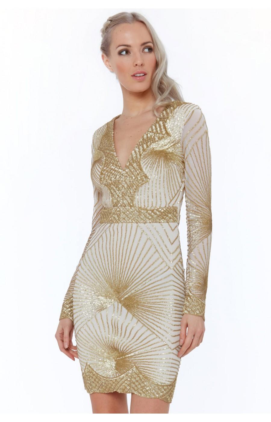 Μπεζ Χρυσό κεντημένο μινι φόρεμα