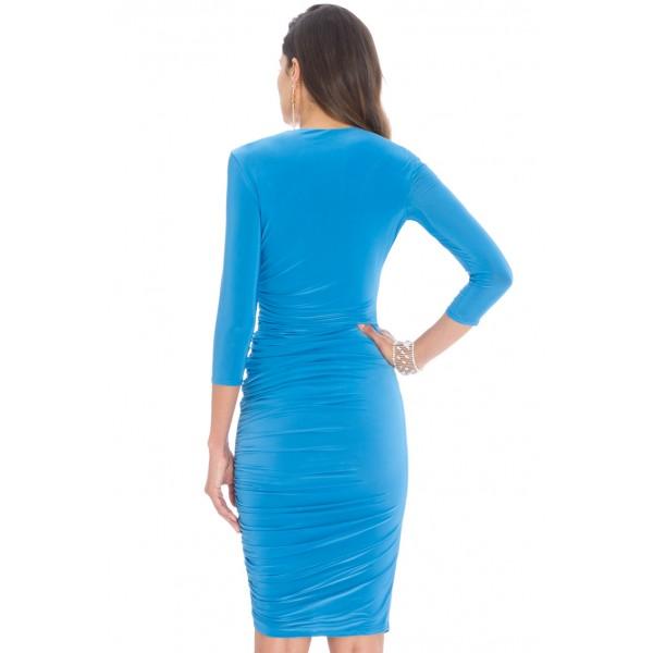 Ελαστικό μιντι τυρκουαζ φόρεμα ΝΟΥΜΕΡΟ XL-UK14
