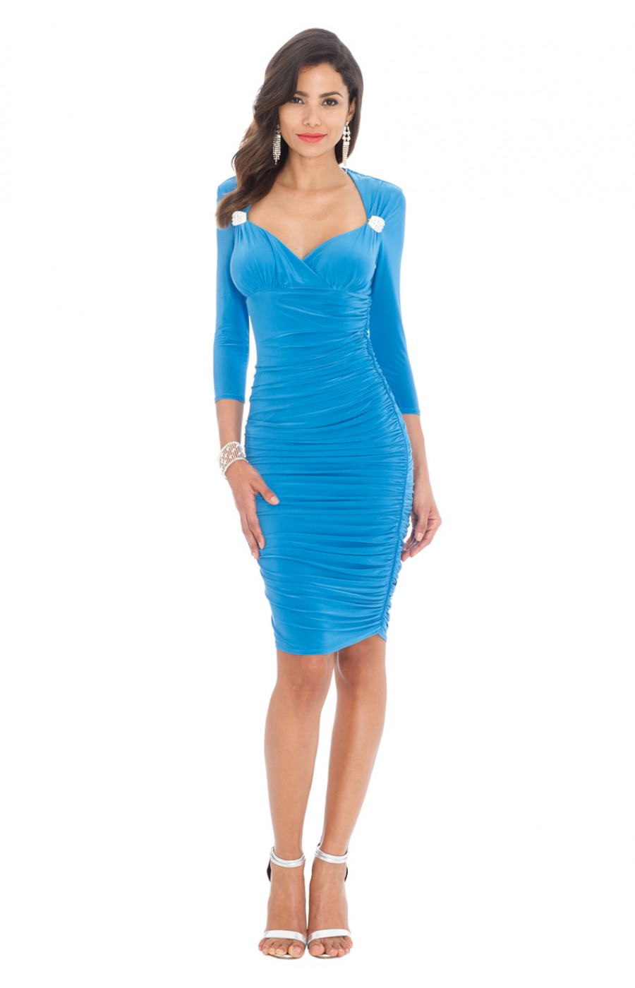 Ελαστικό μιντι τυρκουαζ φόρεμα