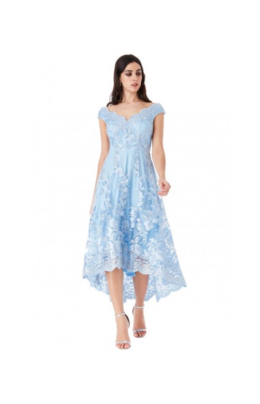 Γαλάζιο μίντι φόρεμα με ασύμμετρο ποδόγυρο