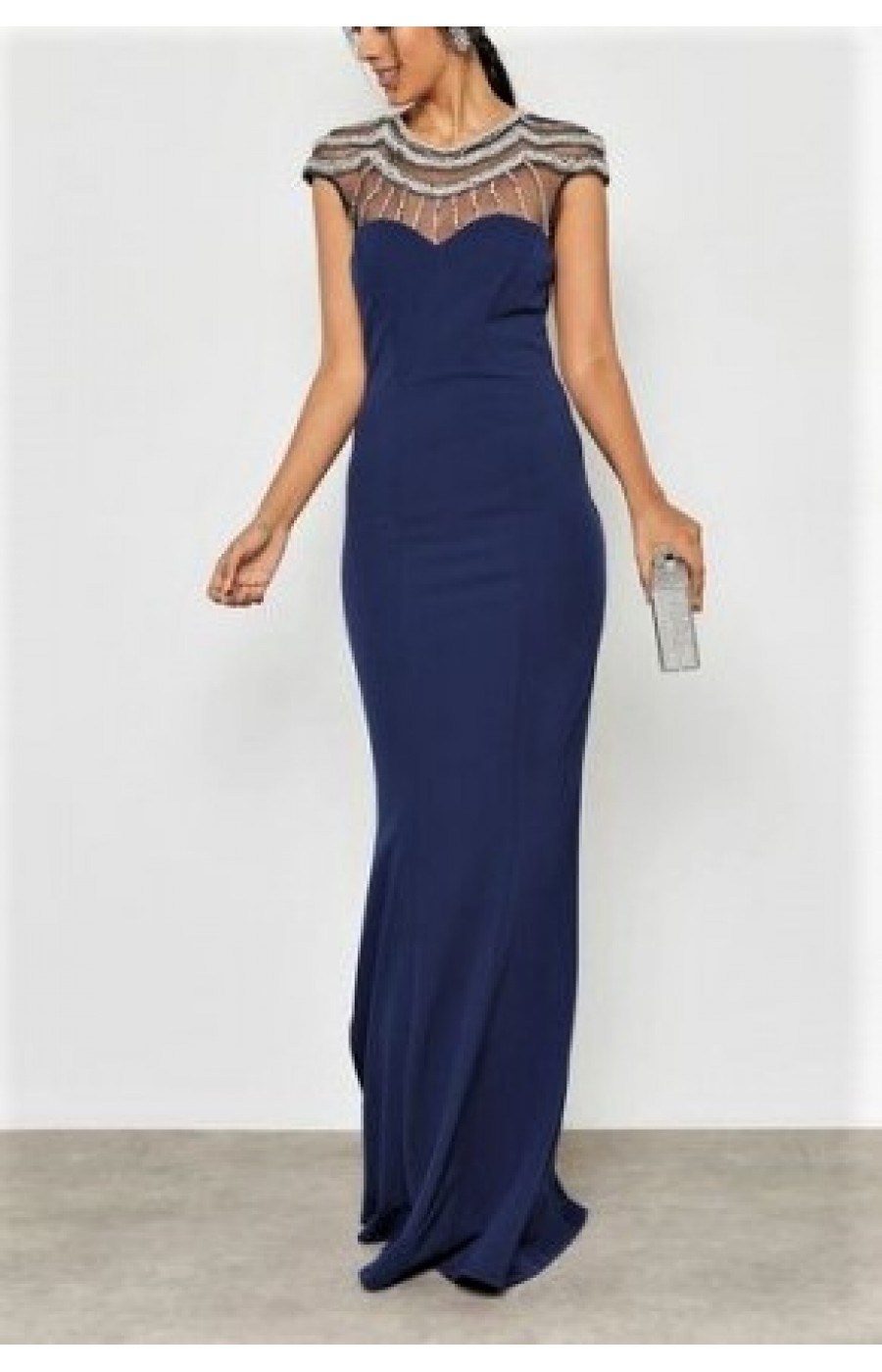 Σκούρο μπλε μακρύ φόρεμα με διαφάνεια και κέντημα στο επάνω μέρος