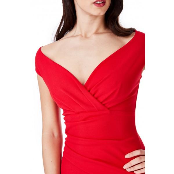 Κοκκινο εφαρμοστό κρέπ φόρεμα  ΝΟΥΜΕΡΟ M-UK10