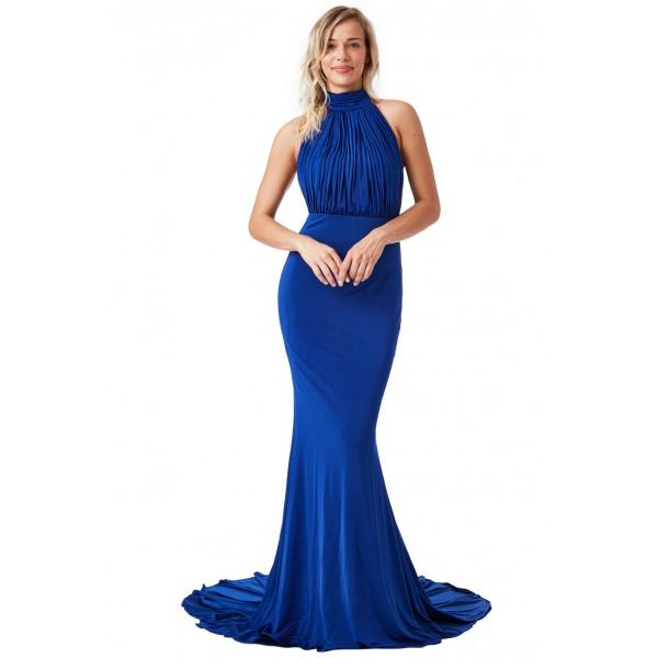 Μακρύ μπλε φόρεμα με ανοικτή πλάτη και ουρά  ΝΟΥΜΕΡΟ XL-UK14