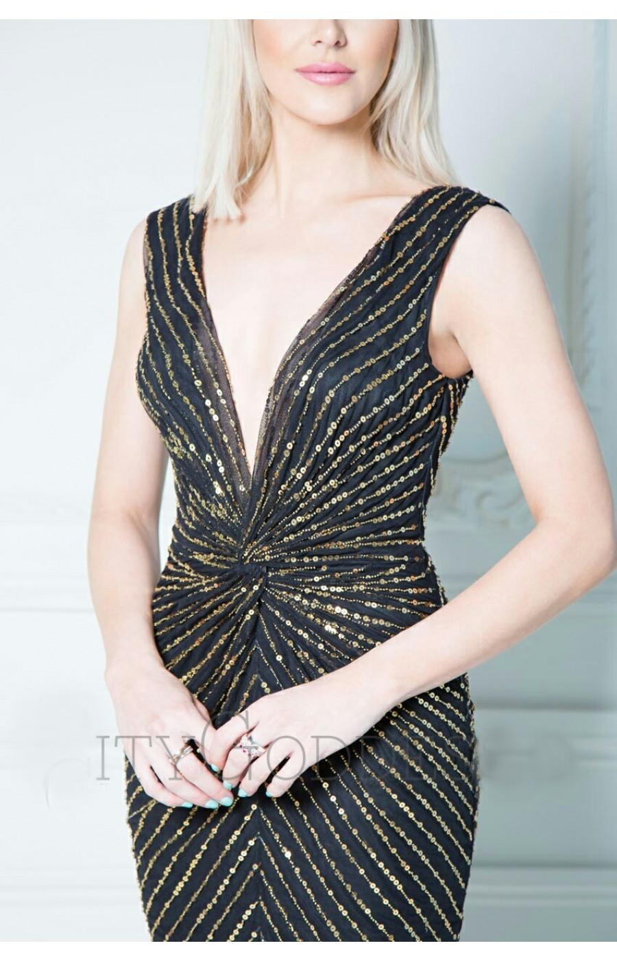 Μαύρο μίντι φόρεμα με χρυσές παγιετες