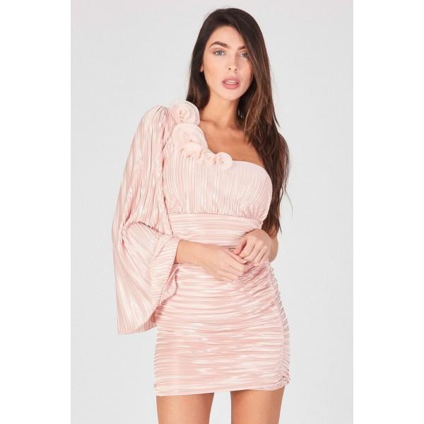 Μινι nude rose φόρεμα με έναν ώμο