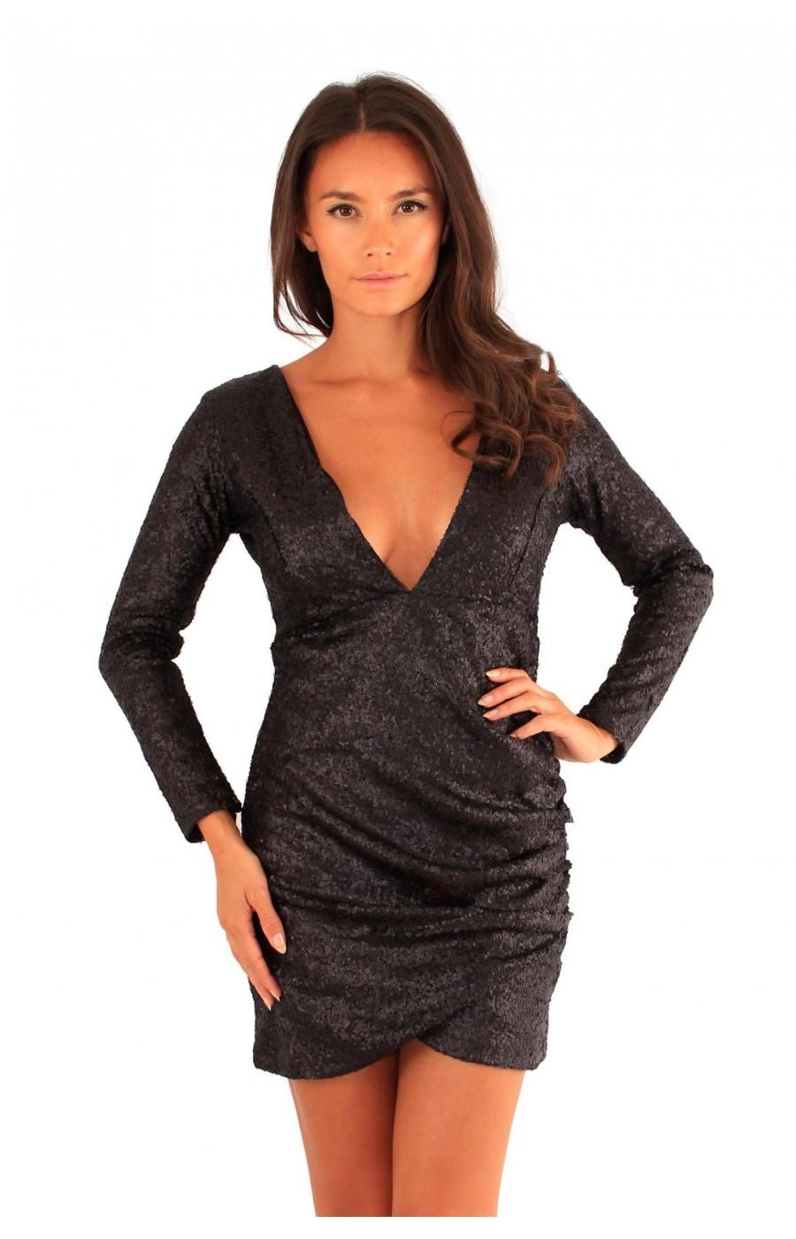 Μινι φόρεμα με μαύρες παγιετες