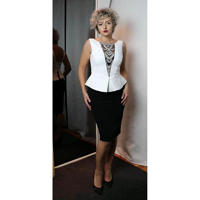 619516027cf Μίντι φόρεμα σε άσπρο-μαύρο