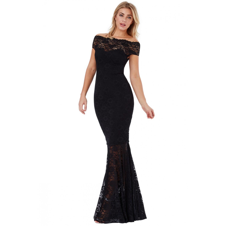 a2259bdca82d Μαυρο μακρυ φόρεμα με δαντέλα