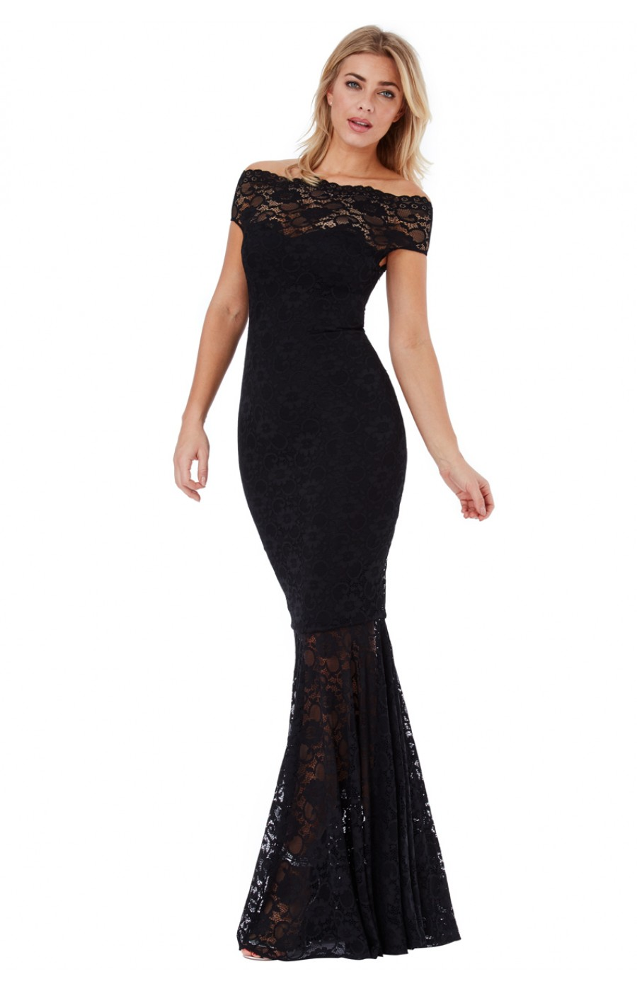 Μαυρο μακρυ φόρεμα με δαντέλα