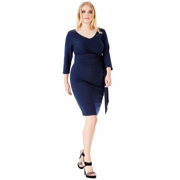 Σκούρο μπλε μίντι φόρεμα ΜΕΓΑΛΑ ΜΕΓΕΘΗ