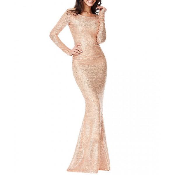Ροζ χρυσό μακρύ φόρεμα με παγιέτες