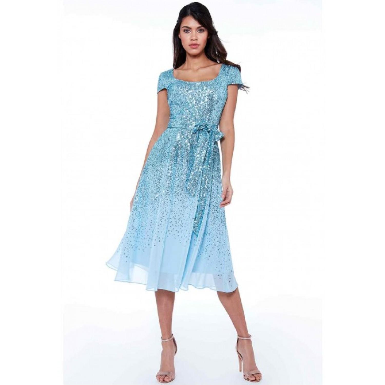 Γαλάζιο μίντι φόρεμα με παγιετες και σιφον