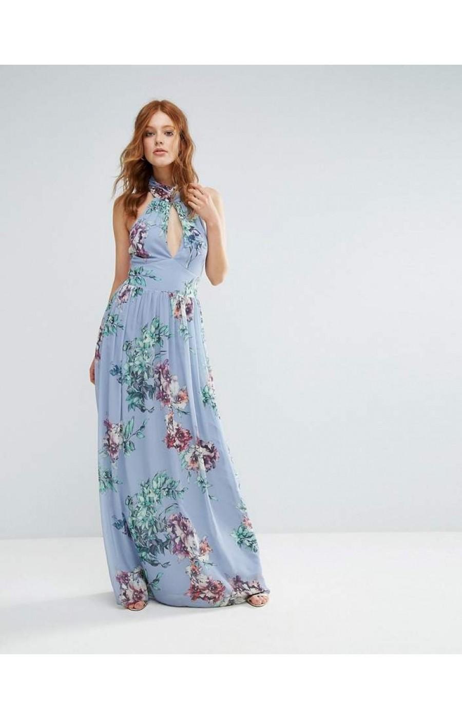 Μακρυ φλοραλ γαλαζιο φορεμα