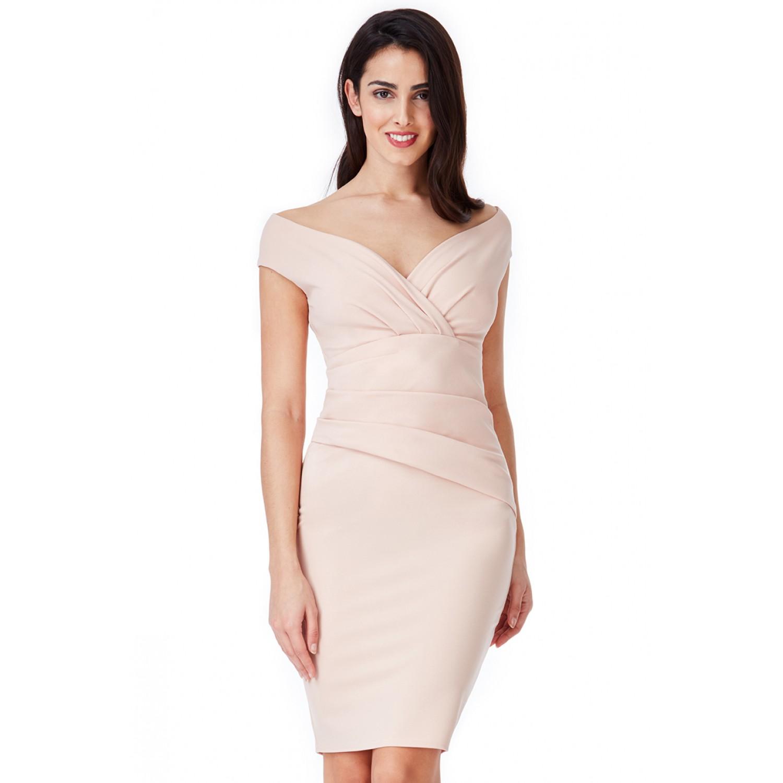 Nude μίντι φόρεμα  ΝΟΥΜΕΡΟ L-UK12