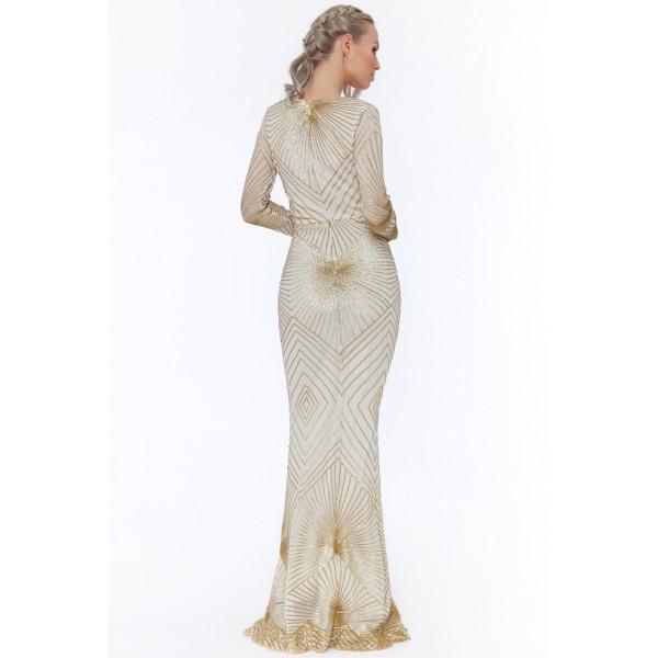Μοναδικό μπεζ μακρύ φόρεμα με χρυσό κεντημα
