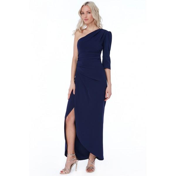 Σκούρο μπλε φόρεμα με έναν ώμο