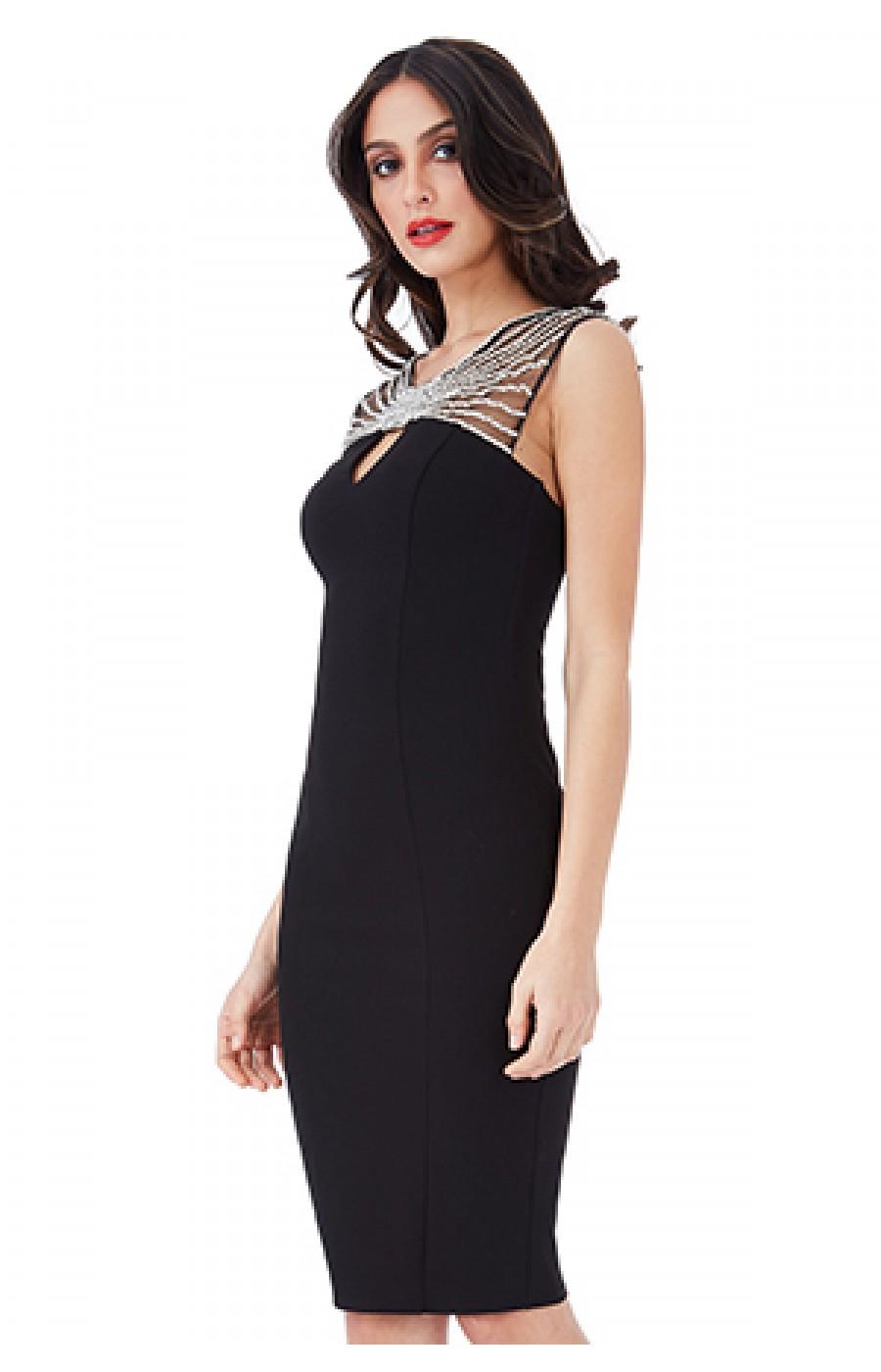 Μαυρο μίντι φόρεμα με στρας κεντημα στο λαιμο