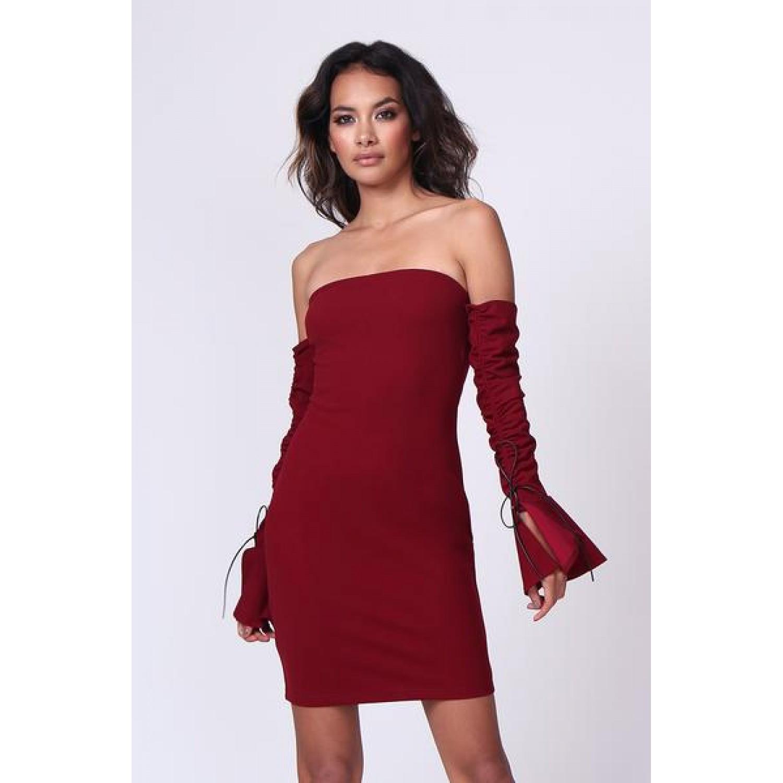 Μπορντο μινι φόρεμα