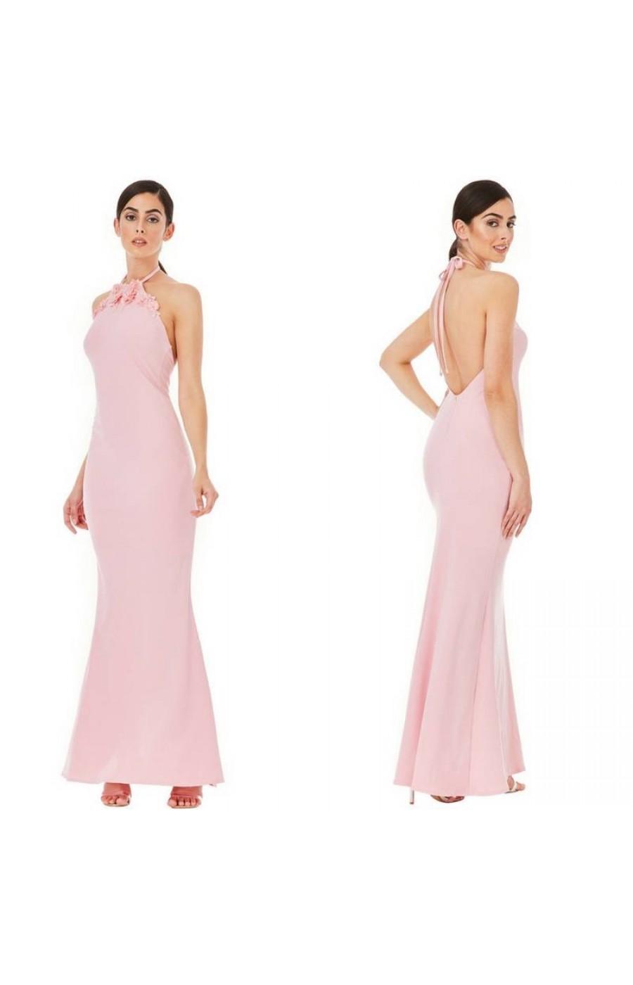 Ροζ μακρύ φόρεμα με ανοικτή πλάτη