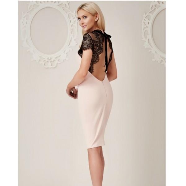 Μπεζ μίντι φόρεμα με λεπτομέρεια απο δαντέλα