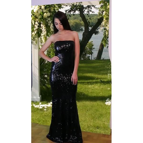 Μαύρο μακρύ φόρεμα με παγιέτες