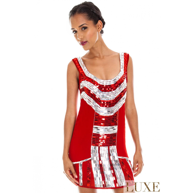 d1f66d546744 -20% Κόκκινο κοντό σιφον φόρεμα με κέντημα