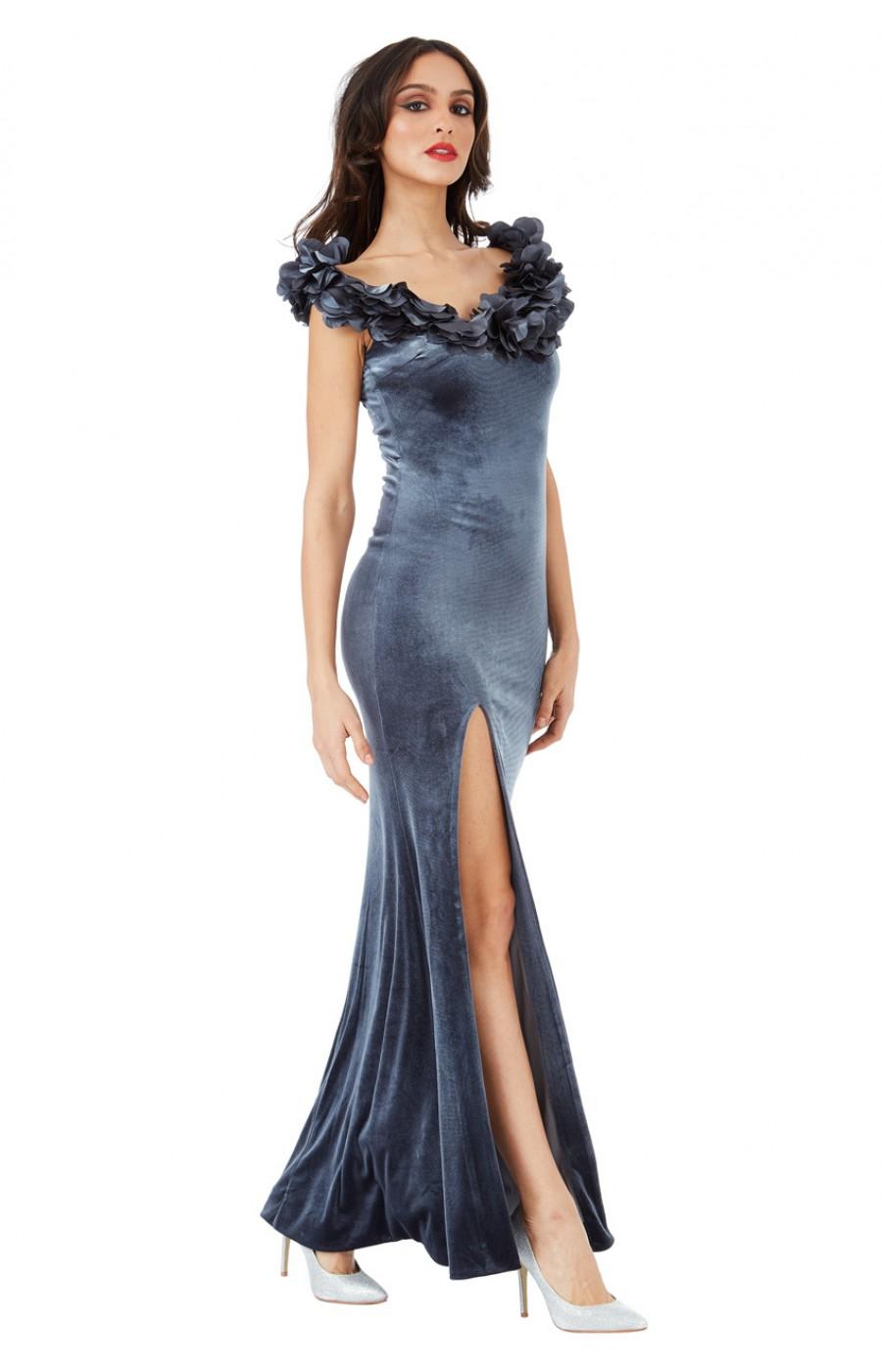 Βελούδινο μακρύ γκρι φόρεμα