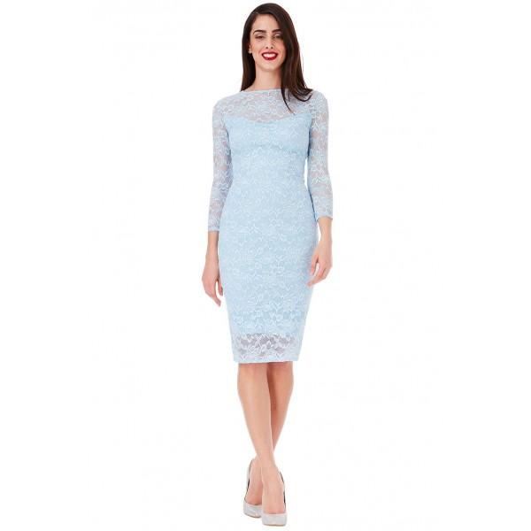 Γαλαζιο δαντελένιο φόρεμα