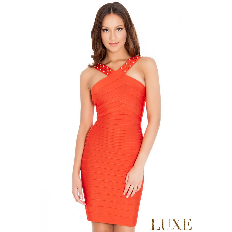 Bandage φόρεμα απο την Luxe σειρα, σε πορτοκαλί χρώμα