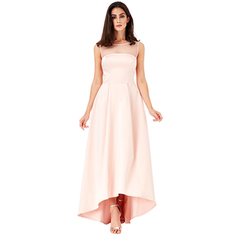 Μπεζ ασύμμετρο φόρεμα με διαφάνεια