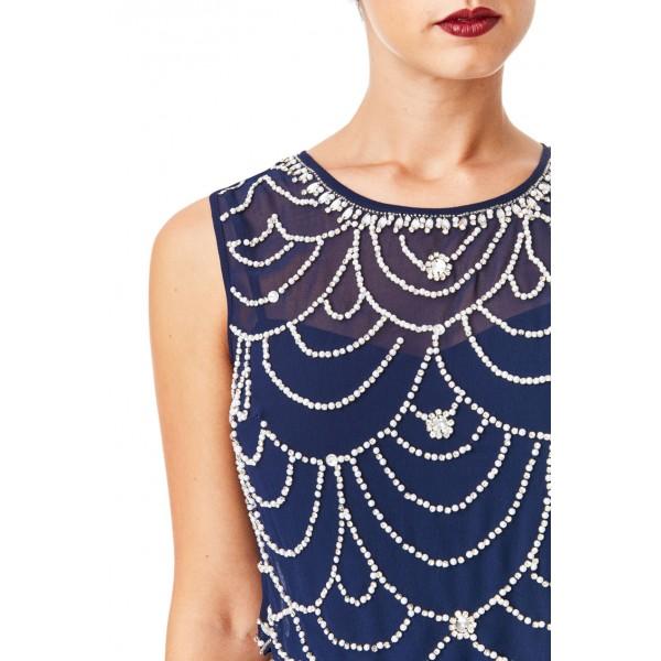 Επίσημο μακρύ μπλε σκούρο φόρεμα με κεντημα στο επανω μερος