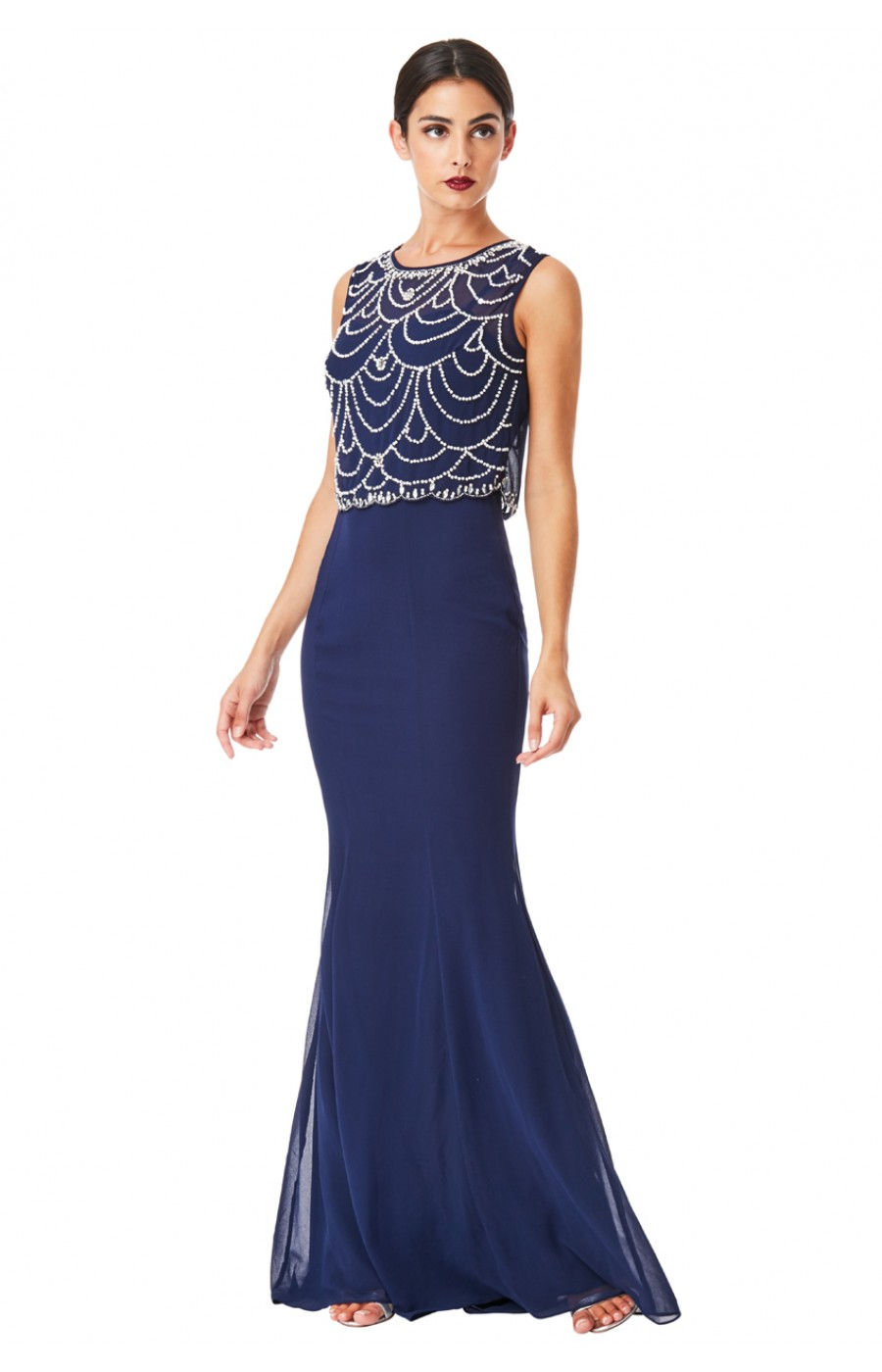 Επίσημο μακρύ μπλε σκούρο φόρεμα με κεντημα στο επανω μερος 7db7c431216