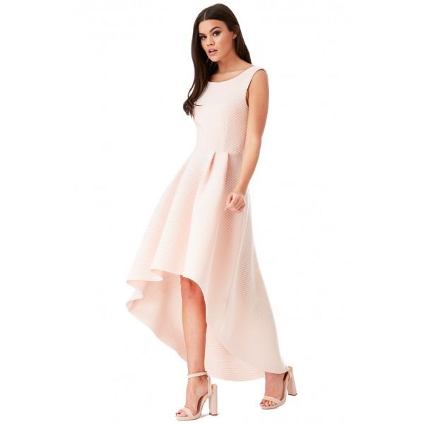 Ασύμετρο παλ ροζ φόρεμα scuba ύφασμα