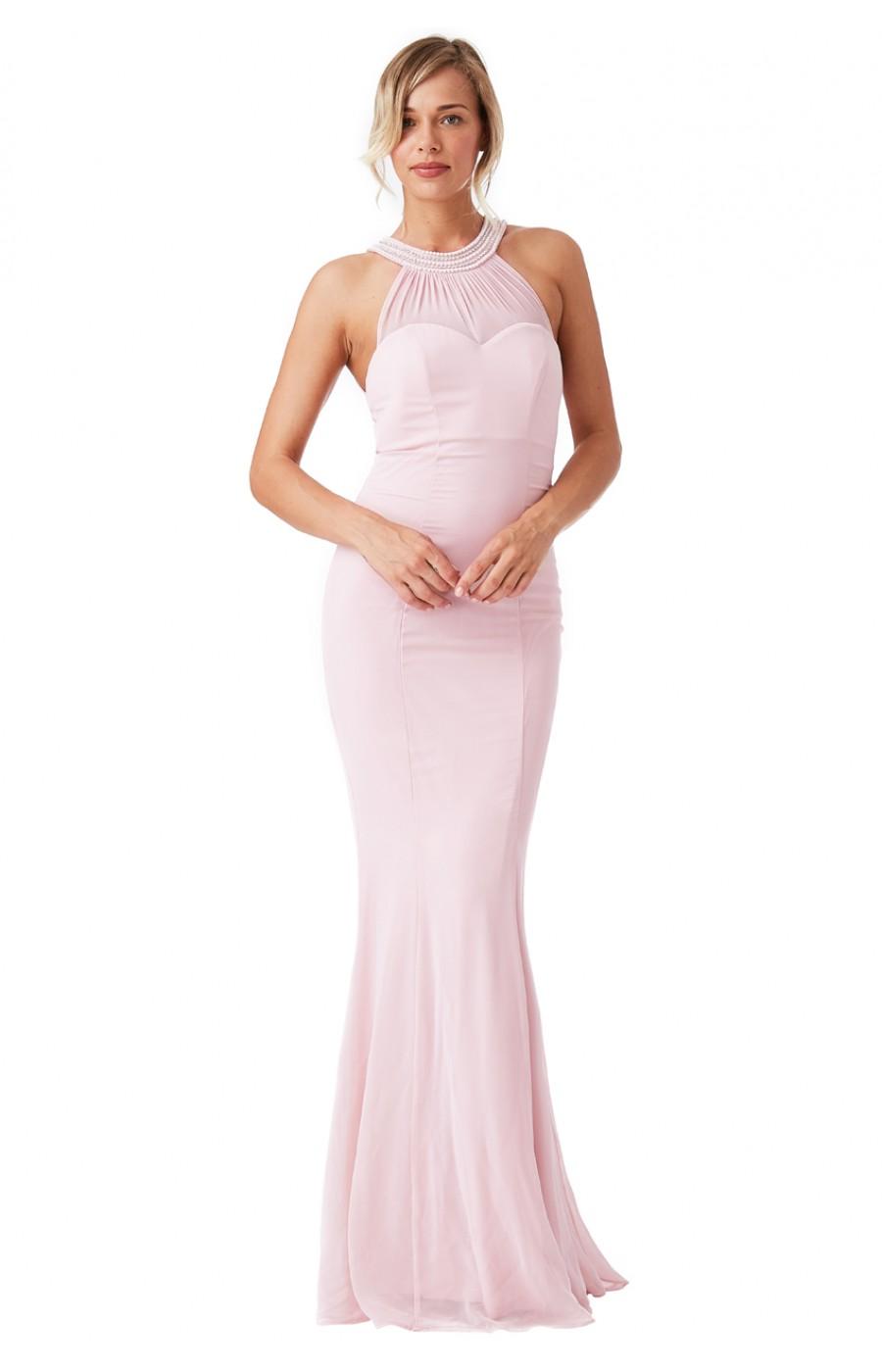 Ροζ μακρύ σιφόν φόρεμα