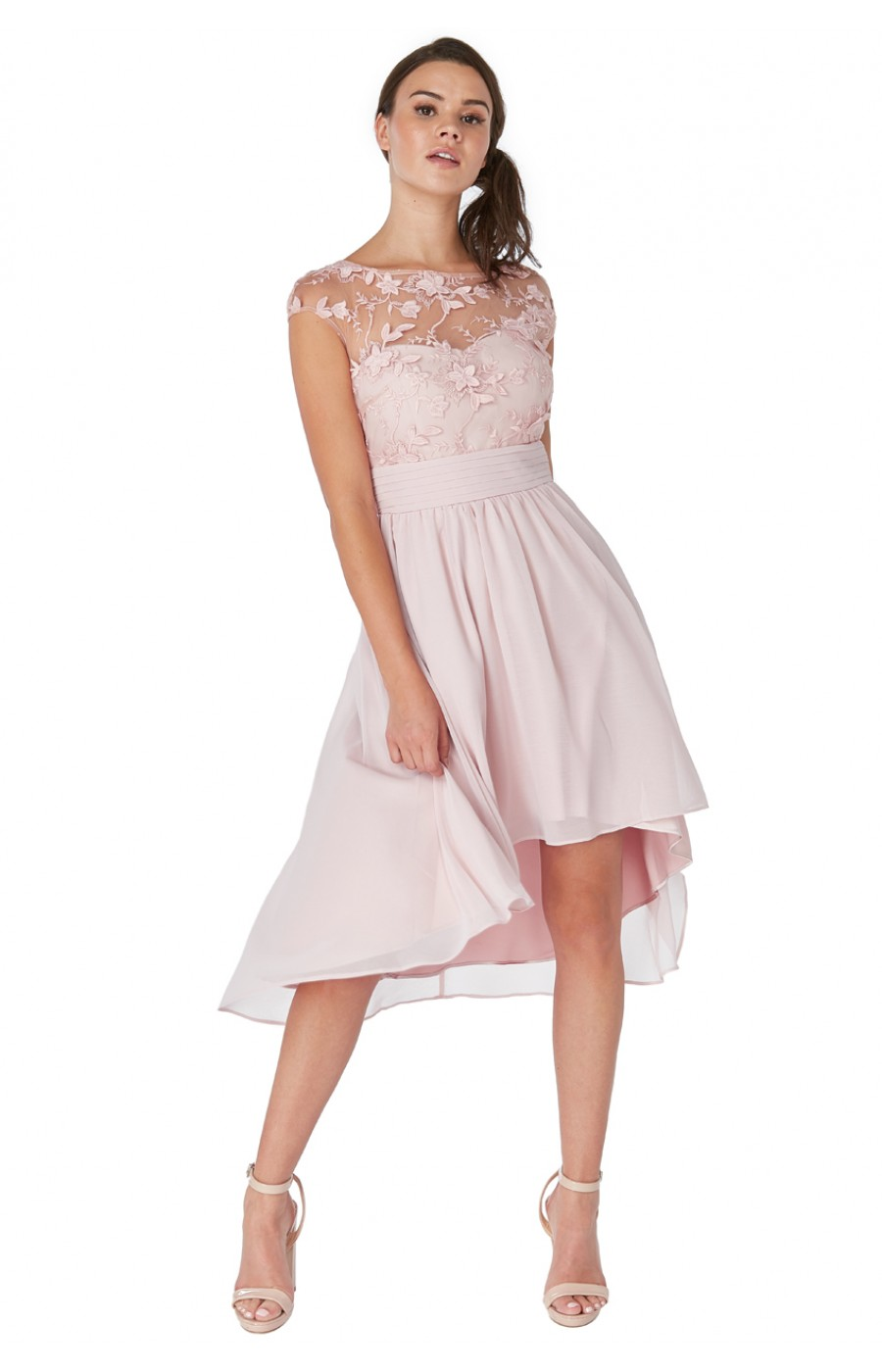 0afea68f51aa Μπεζ-ροζ σιφον, ασύμετρο φόρεμα με διαφάνεια και απλικέ λουλούδια