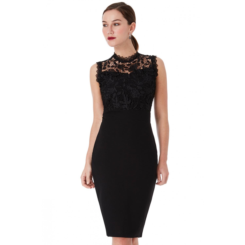 Δαντελένιο μαύρο μίντι φόρεμα