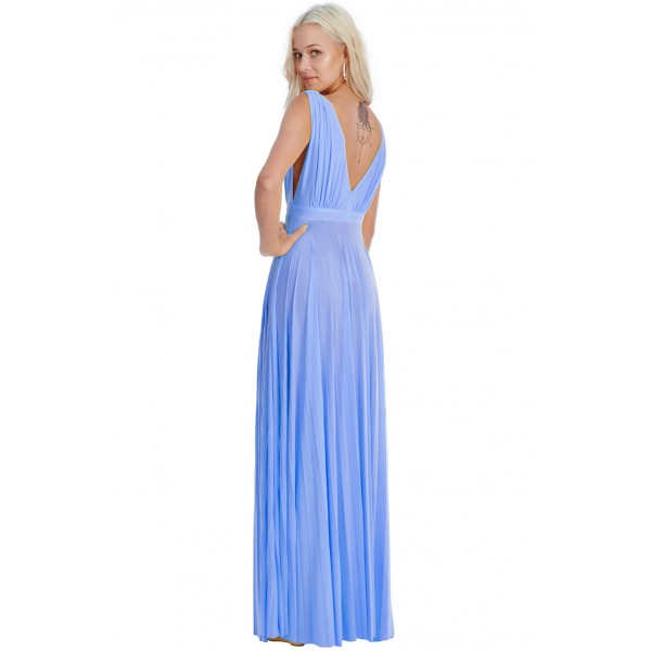 Χυτό γαλάζιο φόρεμα με πλισέ κάτω