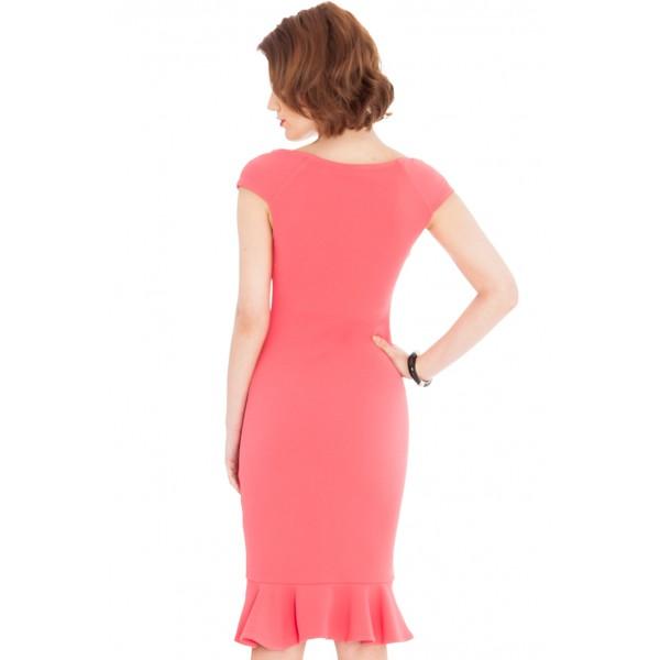 Μίντι λιτό φόρεμα με κοφτό μακικάκι