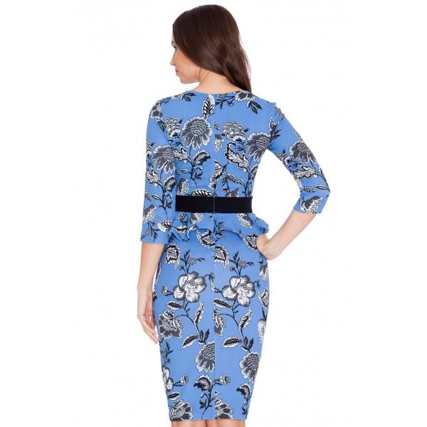 Μίντι γαλαγιο φόρεμα γραφείου με μανίκι τριων τετάρτων