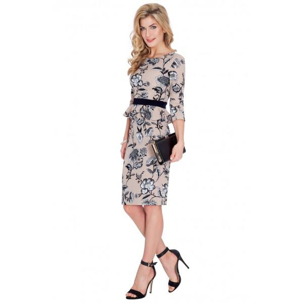 Μίντι μπεζ φόρεμα γραφείου με μανίκι τριων τετάρτων