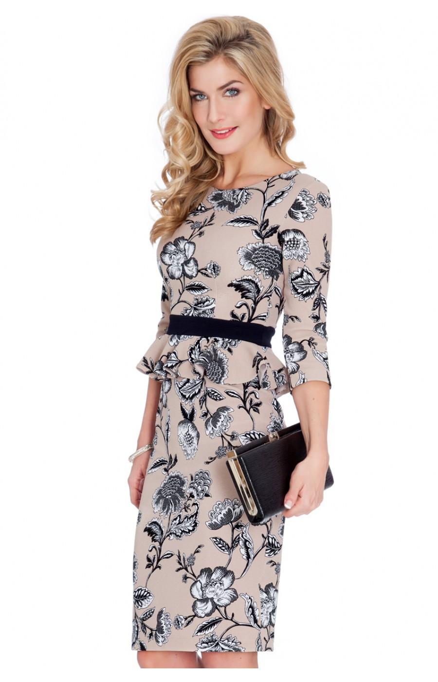329e7336cbb0 Μίντι μπεζ φόρεμα γραφείου με μανίκι τριων τετάρτων