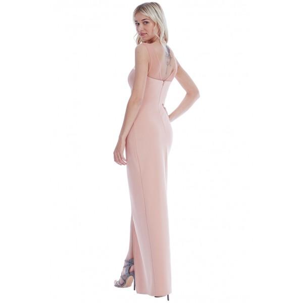 Nude μακρύ φόρεμα με διαφάνεια στο λαιμό
