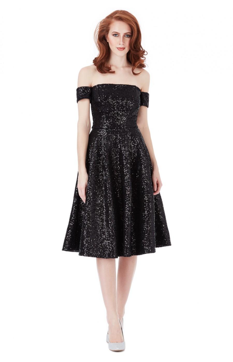 Μαύρο μίντι κλος φόρεμα απο παγιέτες με μανικακι