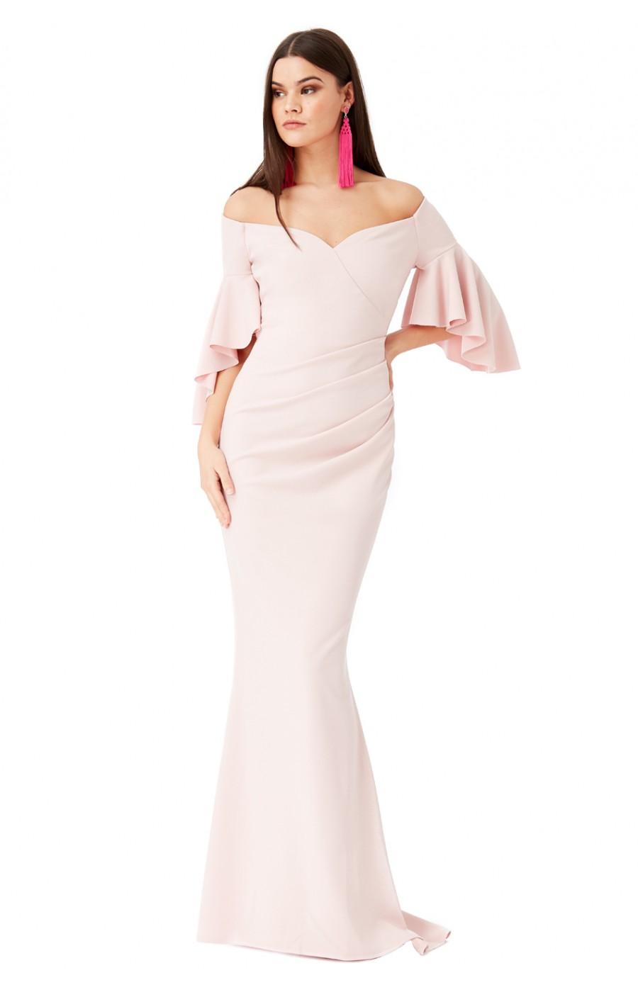Μπεζ μακρύ επισημο φόρεμα