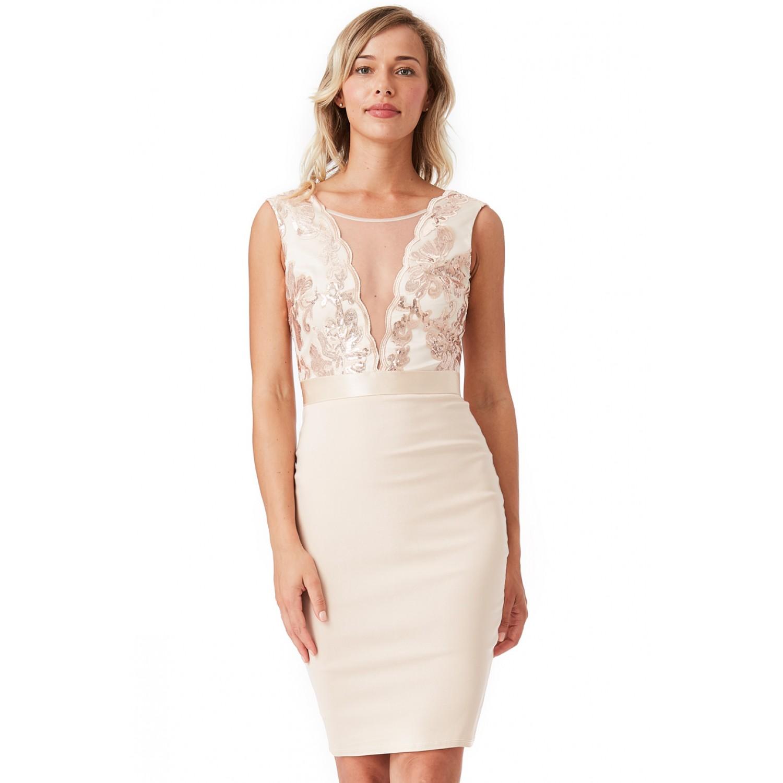 f08ee5cf77cb Μπεζ μίντι επίσημο φόρεμα