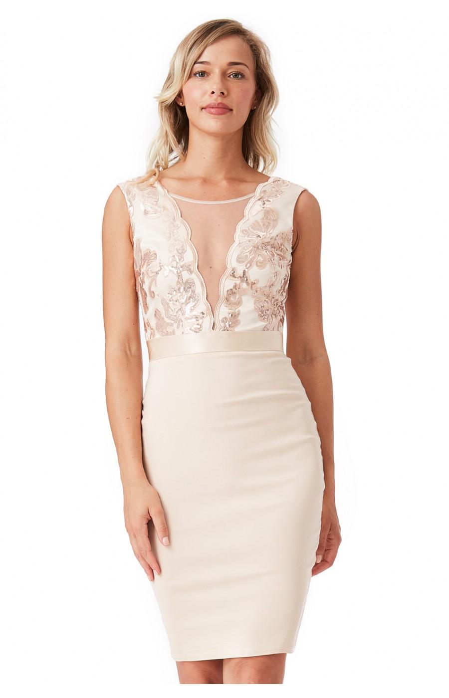 Μπεζ μίντι επίσημο φόρεμα