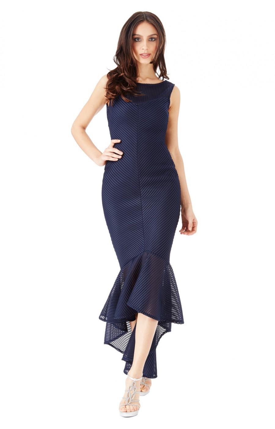 Μπλε μιντι γοργονέ φόρεμα